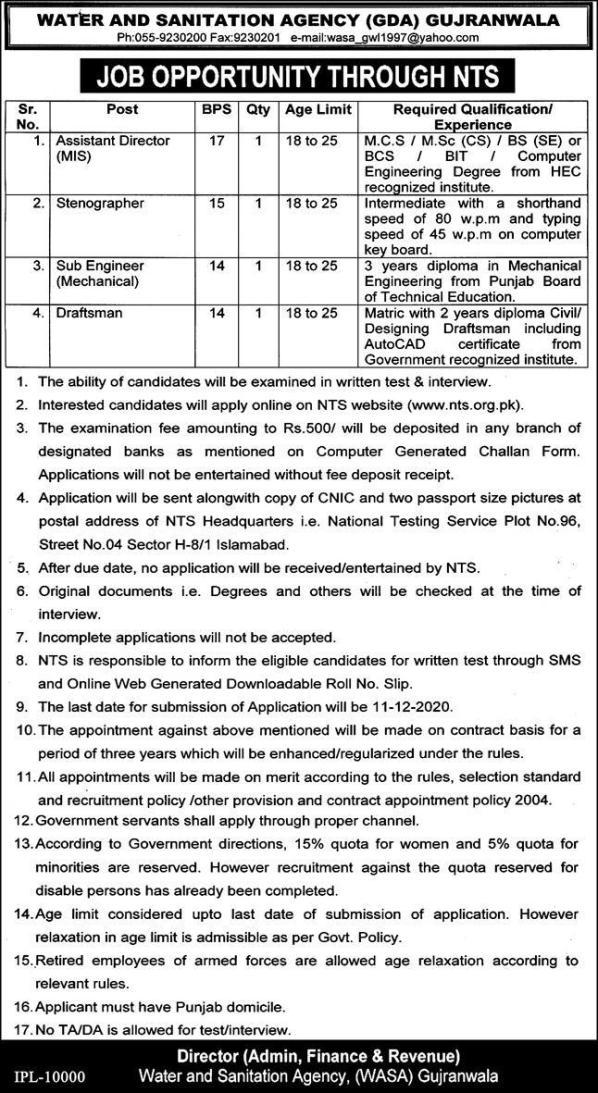 WASA Gujranwala Jobs 2021 NTS Application Form Roll No Slips
