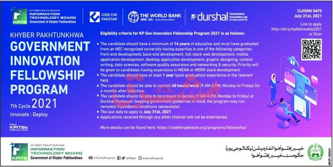 KPK Innovation Fellowship Program 2021 Registration Online Eligibility Criteria