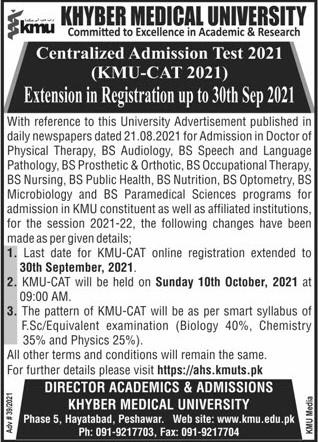 KMU Admission CAT Test 2021 Registration Online Test Schedule