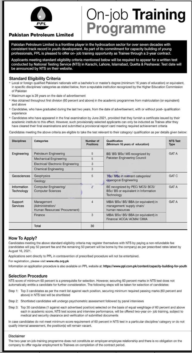 PPL Special Graduate Trainee NTS Jobs 2021 Registration Online Roll No Slip Test Dates