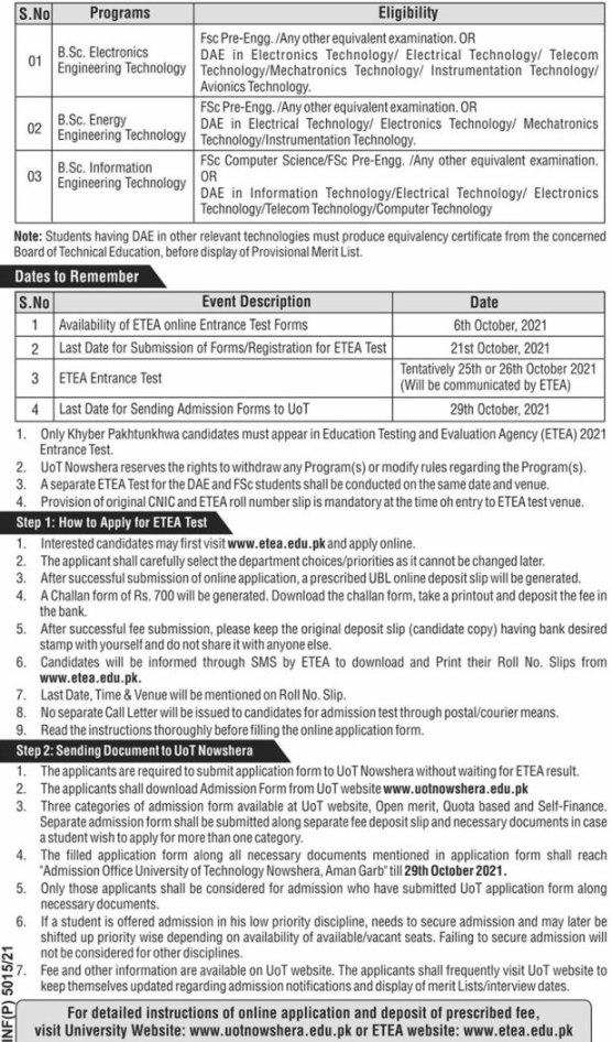 UOT Nowshera Admission 2021 ETEA Online Registration Test Date