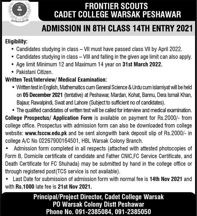 Cadet College Warsak Admission 2021 for 8th Class Online forms