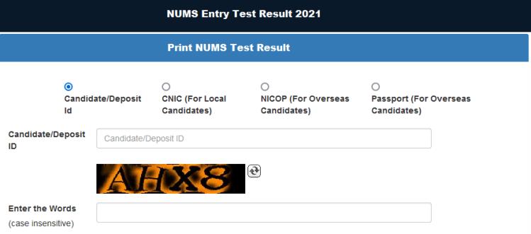 NUMS Test Merit List 2021 MBBS/BDS