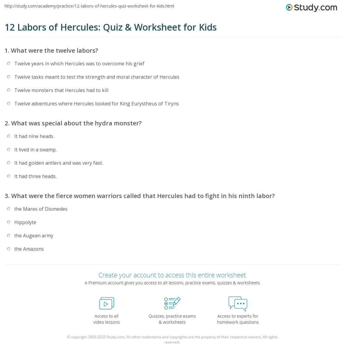 12 Labors Of Hercules Quiz Amp Worksheet For Kids