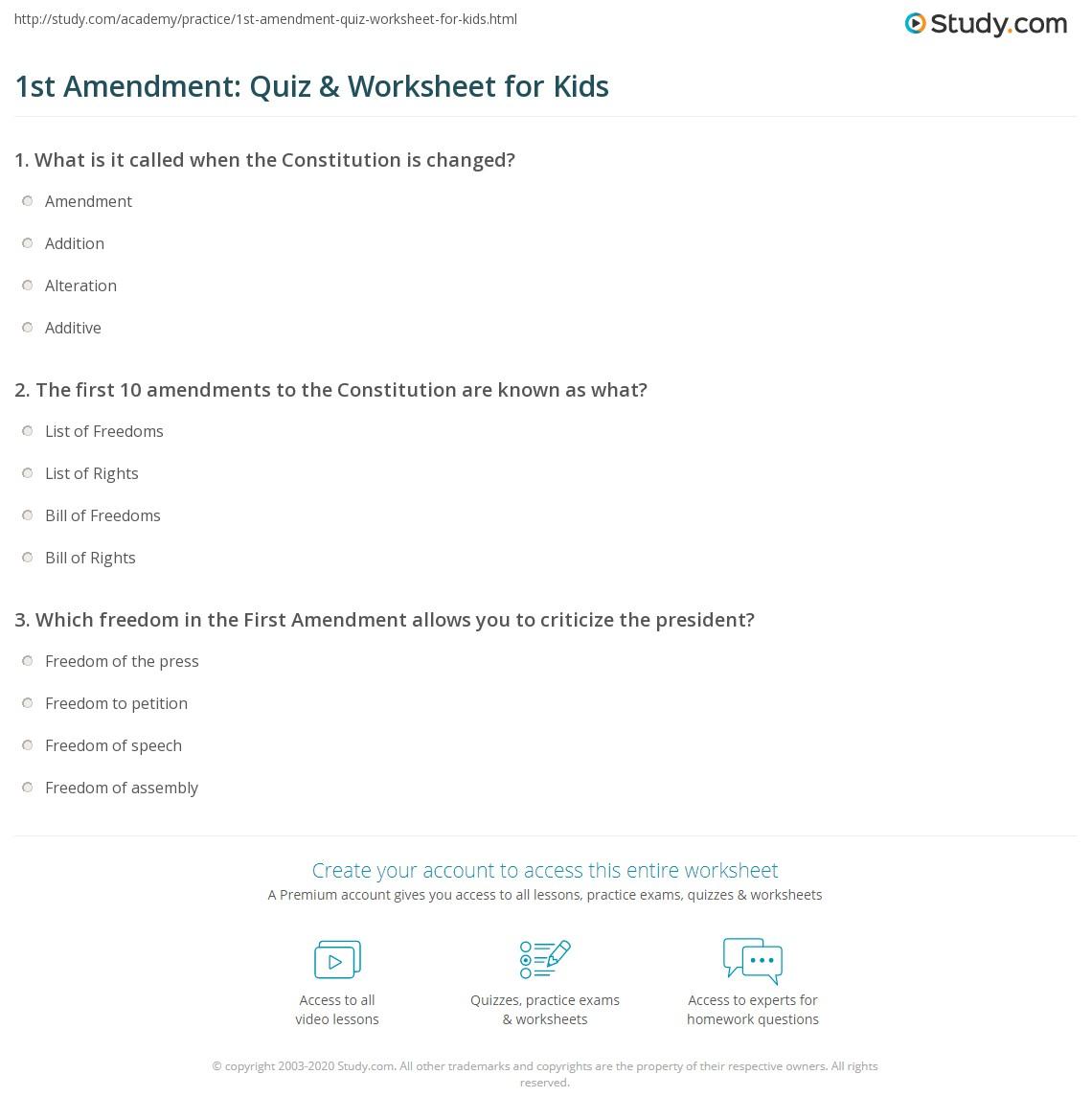 1st Amendment Quiz Amp Worksheet For Kids