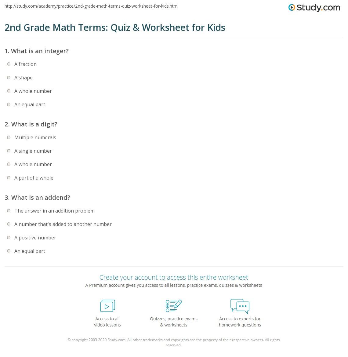 2nd Grade Math Terms Quiz Amp Worksheet For Kids
