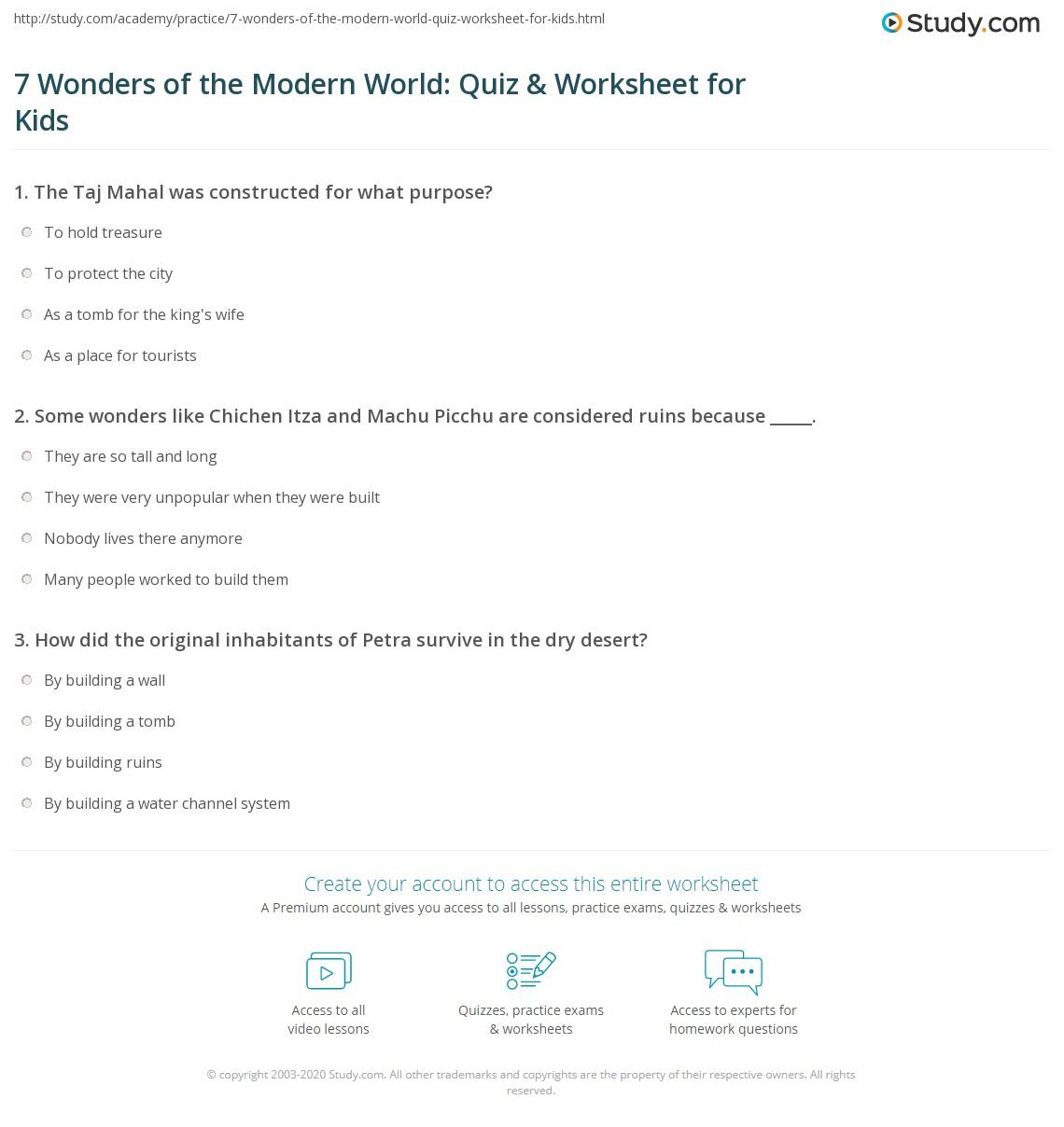 7 Wonders Of The Modern World Quiz Amp Worksheet For Kids