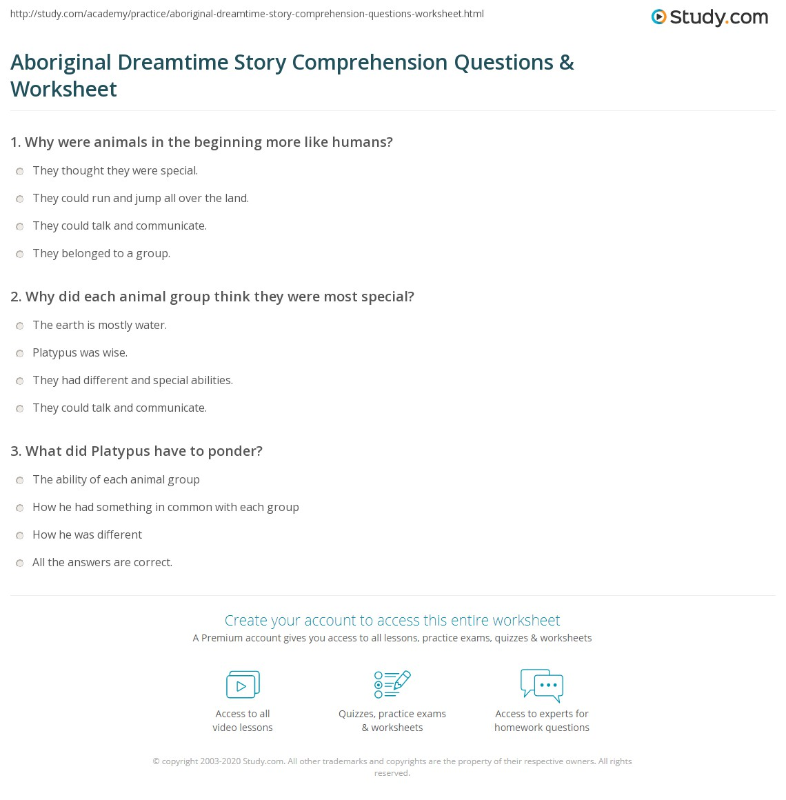 Aboriginal Dreamtime Story Comprehension Questions