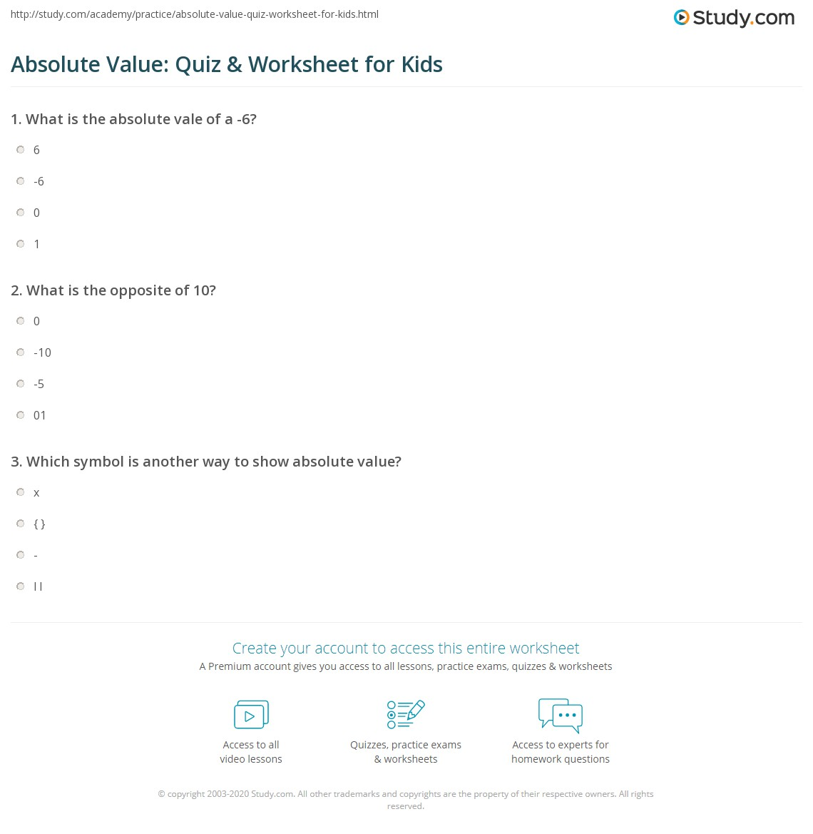 Absolute Value Quiz Amp Worksheet For Kids