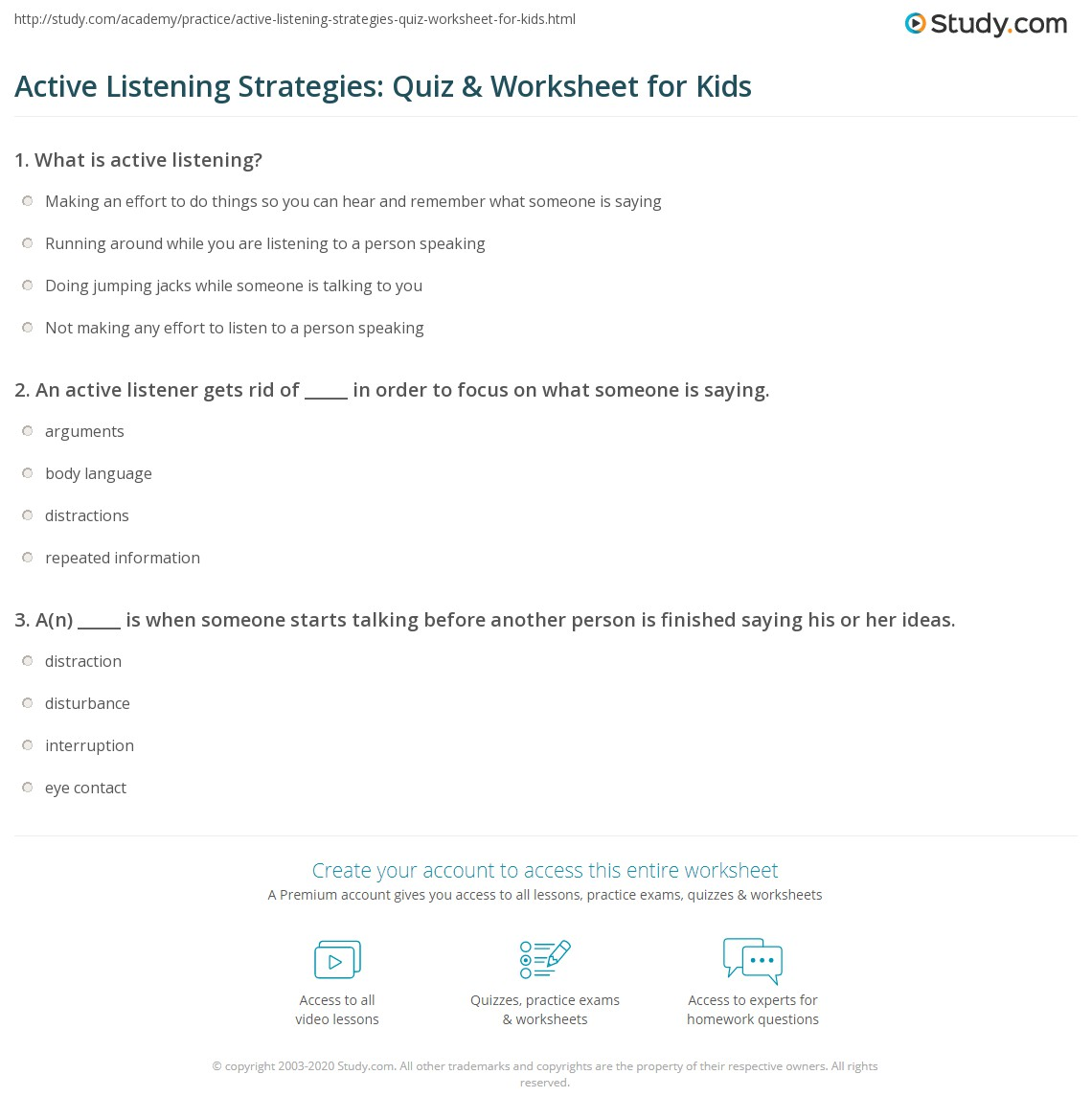 Active Listening Strategies Quiz Amp Worksheet For Kids