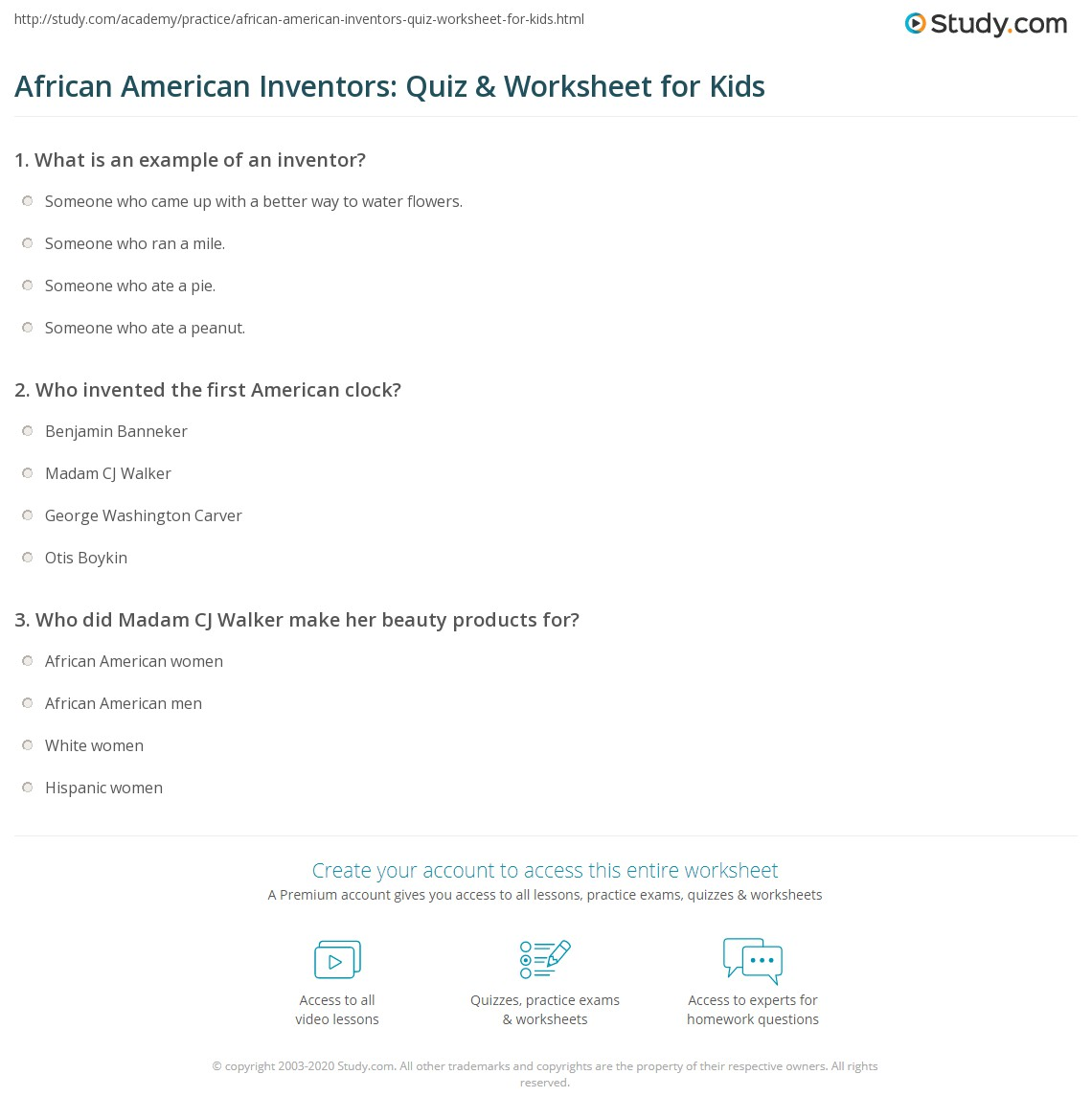 African American Inventors Quiz Amp Worksheet For Kids
