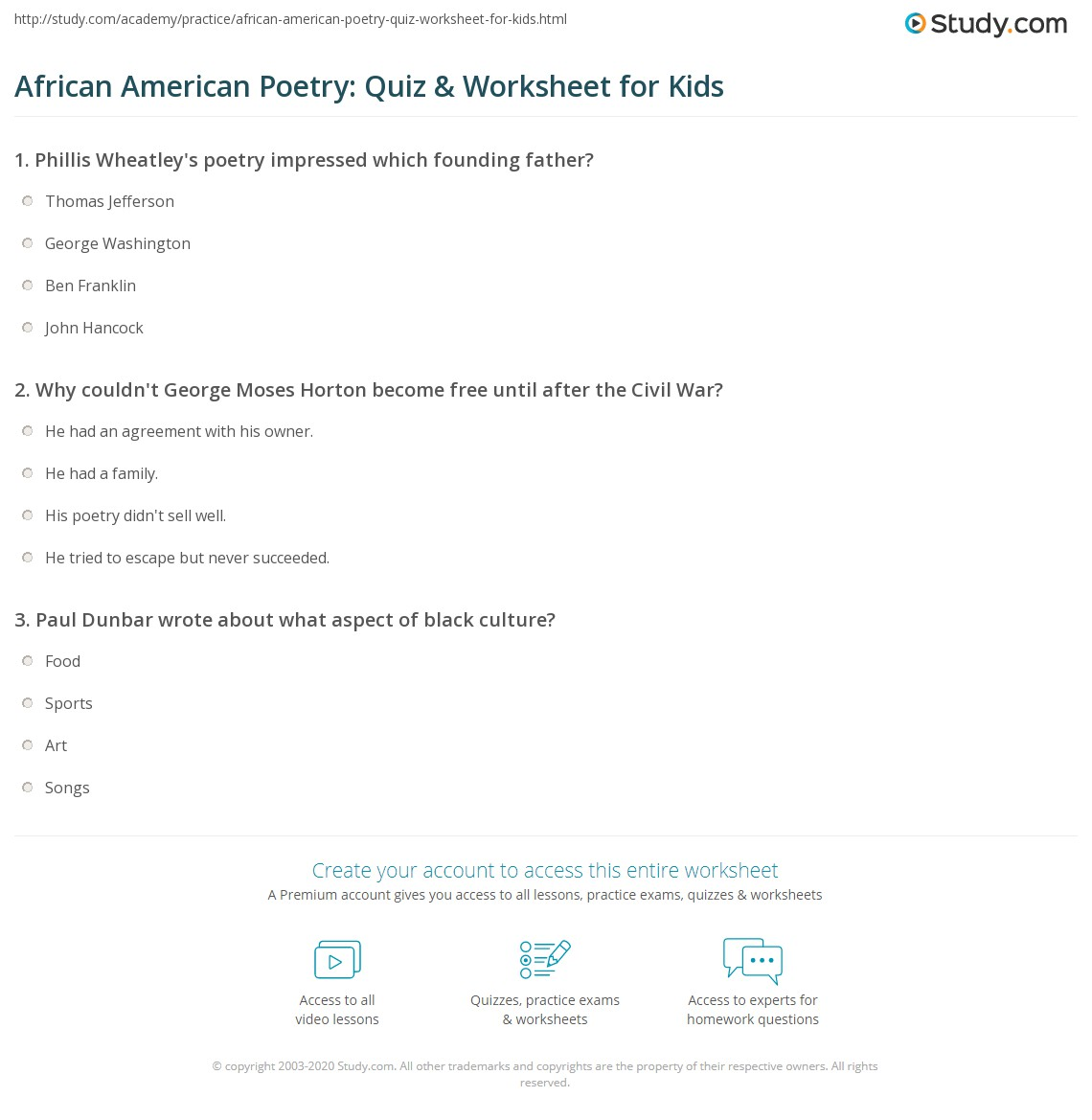 African American Poetry Quiz Amp Worksheet For Kids