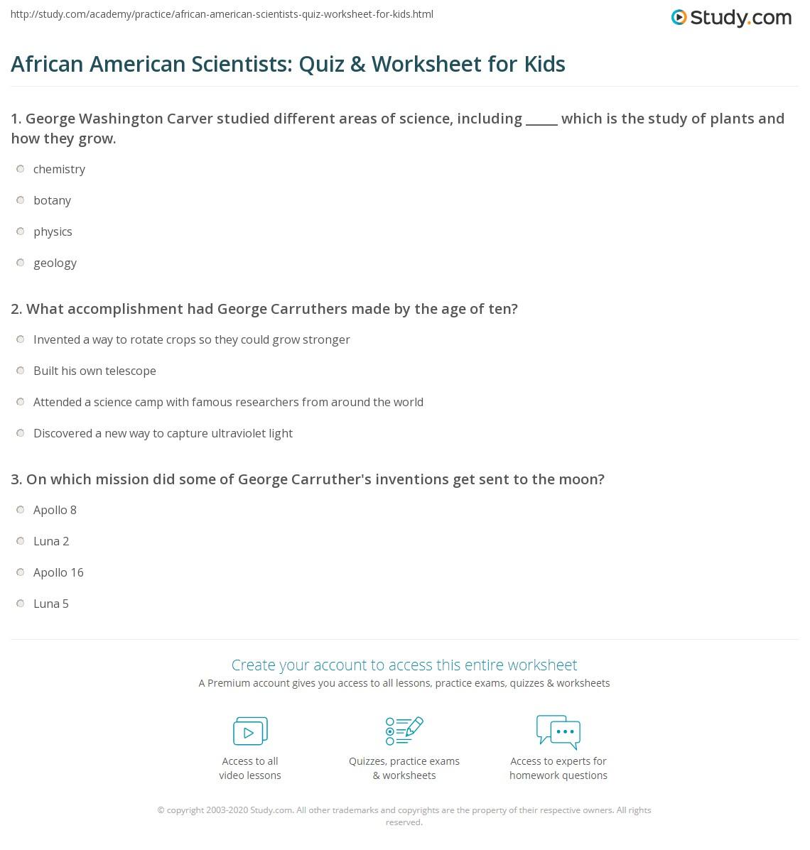 African American Scientists Quiz Amp Worksheet For Kids