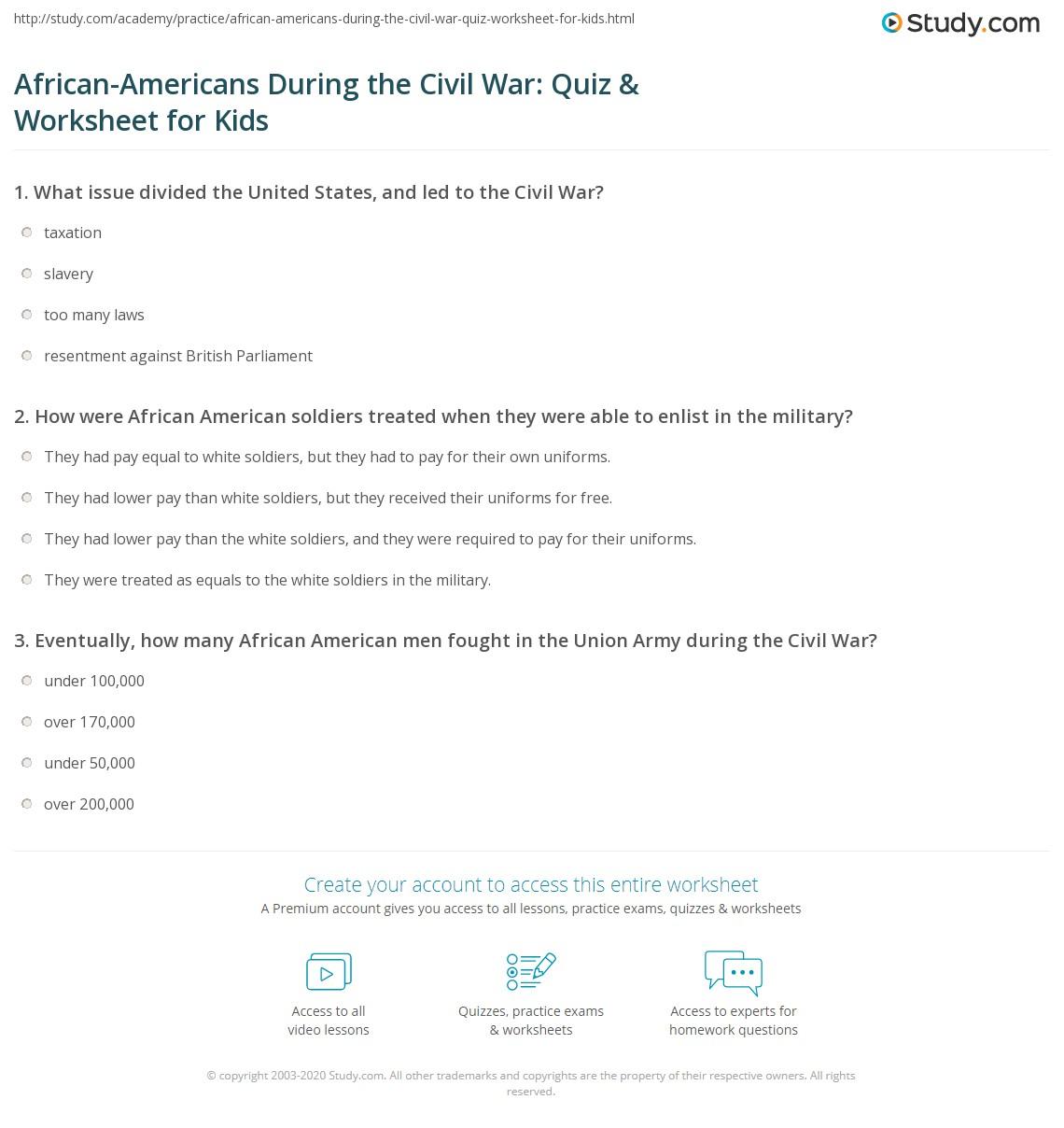 African Americans During The Civil War Quiz Amp Worksheet