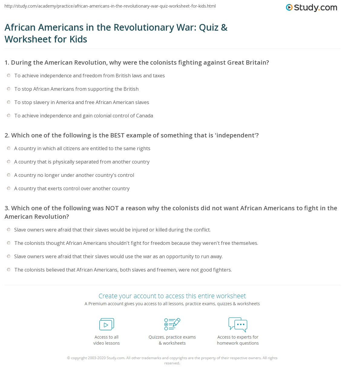 African Americans In The Revolutionary War Quiz