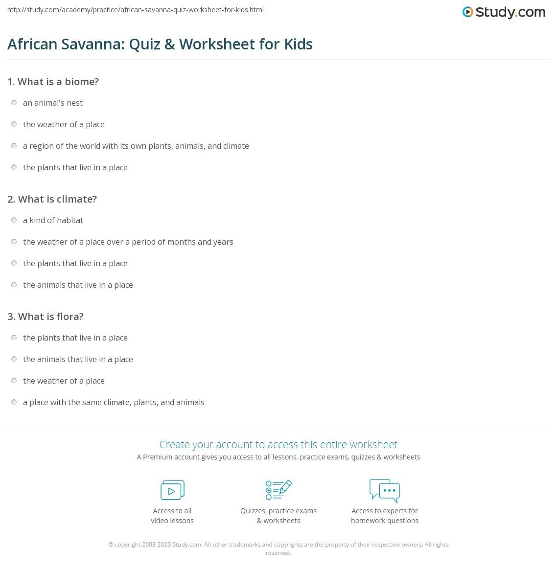 African Savanna Quiz Amp Worksheet For Kids