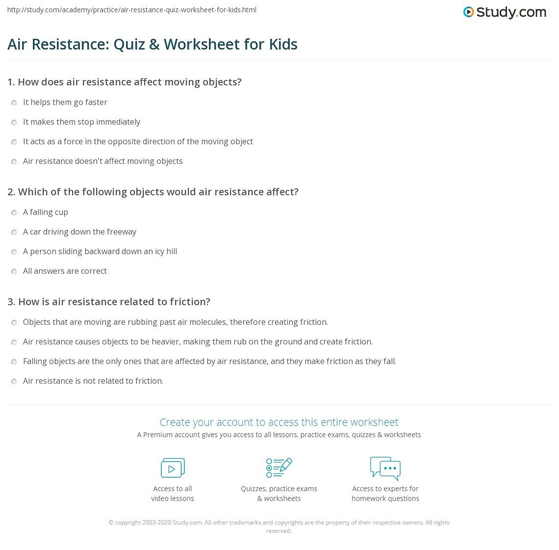 Air Resistance Quiz Amp Worksheet For Kids