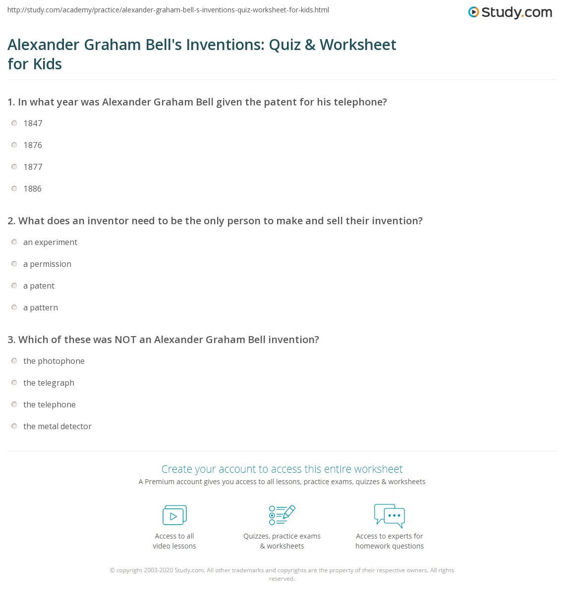 Alexander Graham Bell S Inventions Quiz Amp Worksheet For