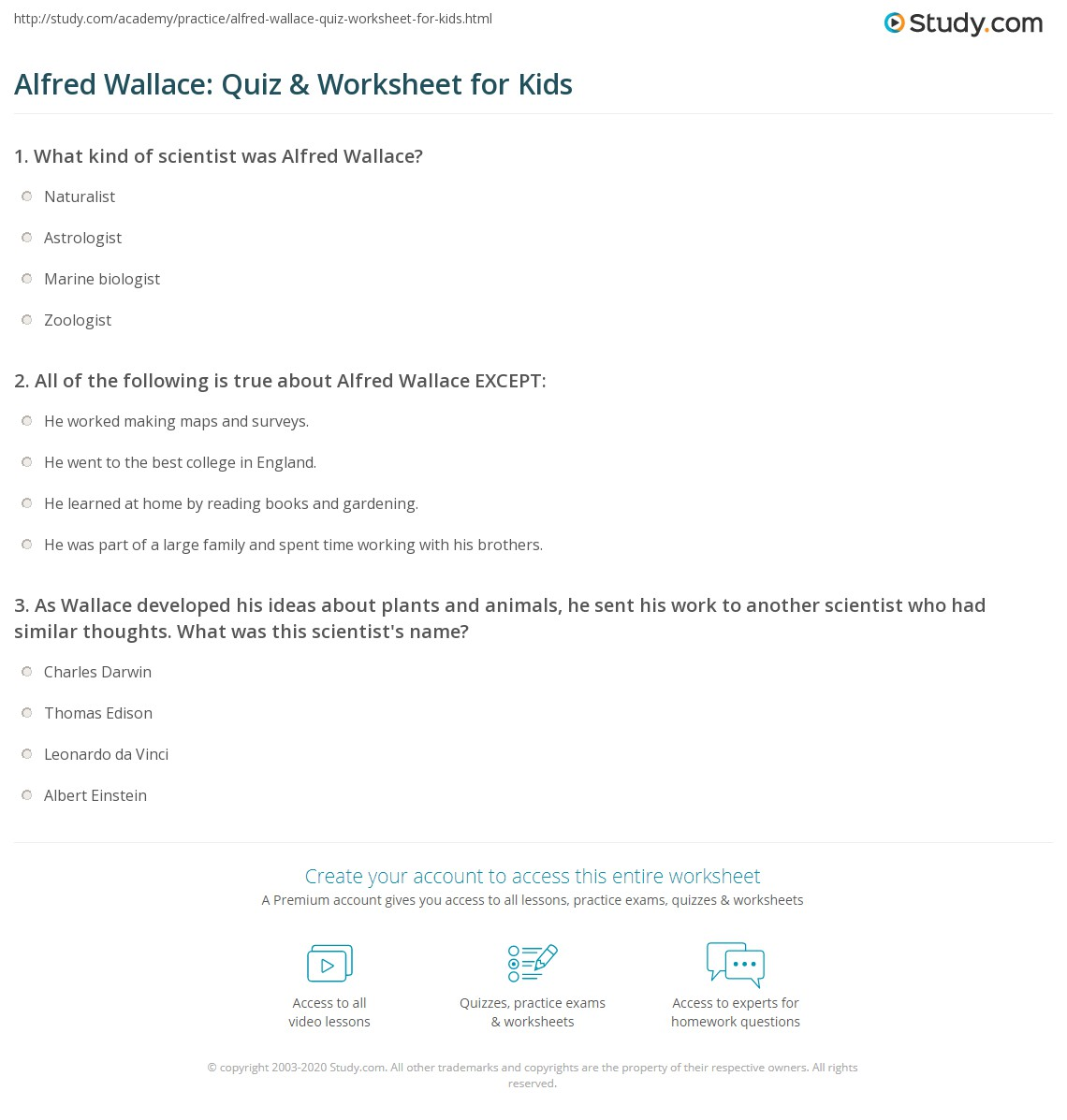 Alfred Wallace Quiz Amp Worksheet For Kids