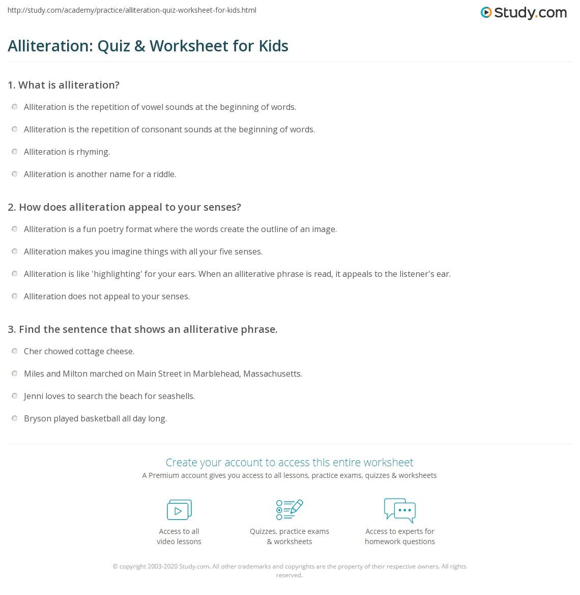 Alliteration Quiz Amp Worksheet For Kids
