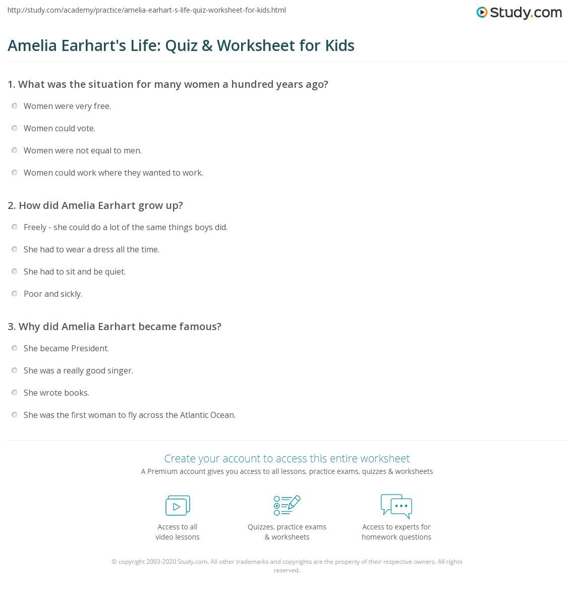 Amelia Earhart S Life Quiz Amp Worksheet For Kids