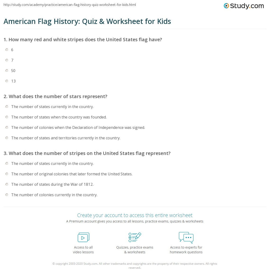 American Flag History Quiz Amp Worksheet For Kids