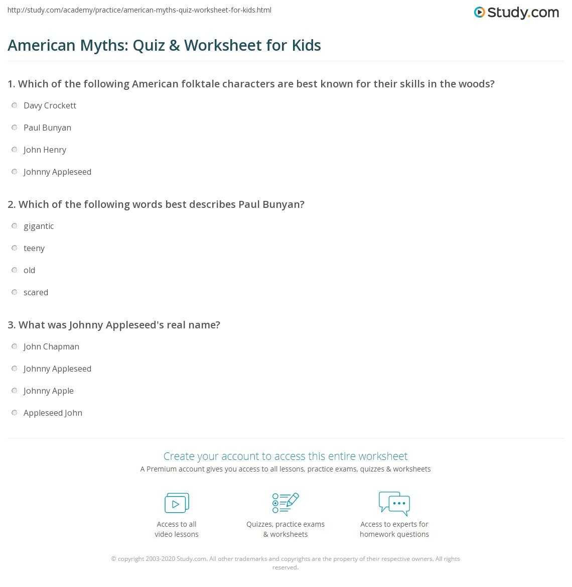 American Myths Quiz Amp Worksheet For Kids