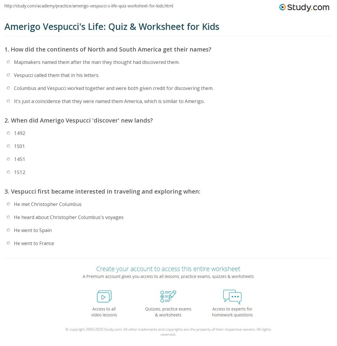 Amerigo Vespucci S Life Quiz Amp Worksheet For Kids
