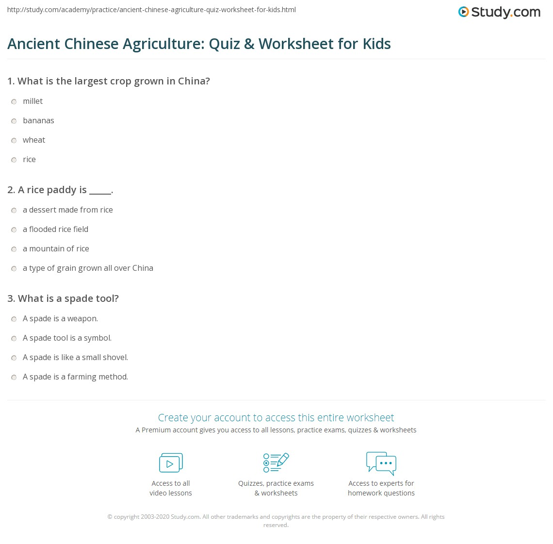Ancient Chinese Agriculture Quiz Amp Worksheet For Kids