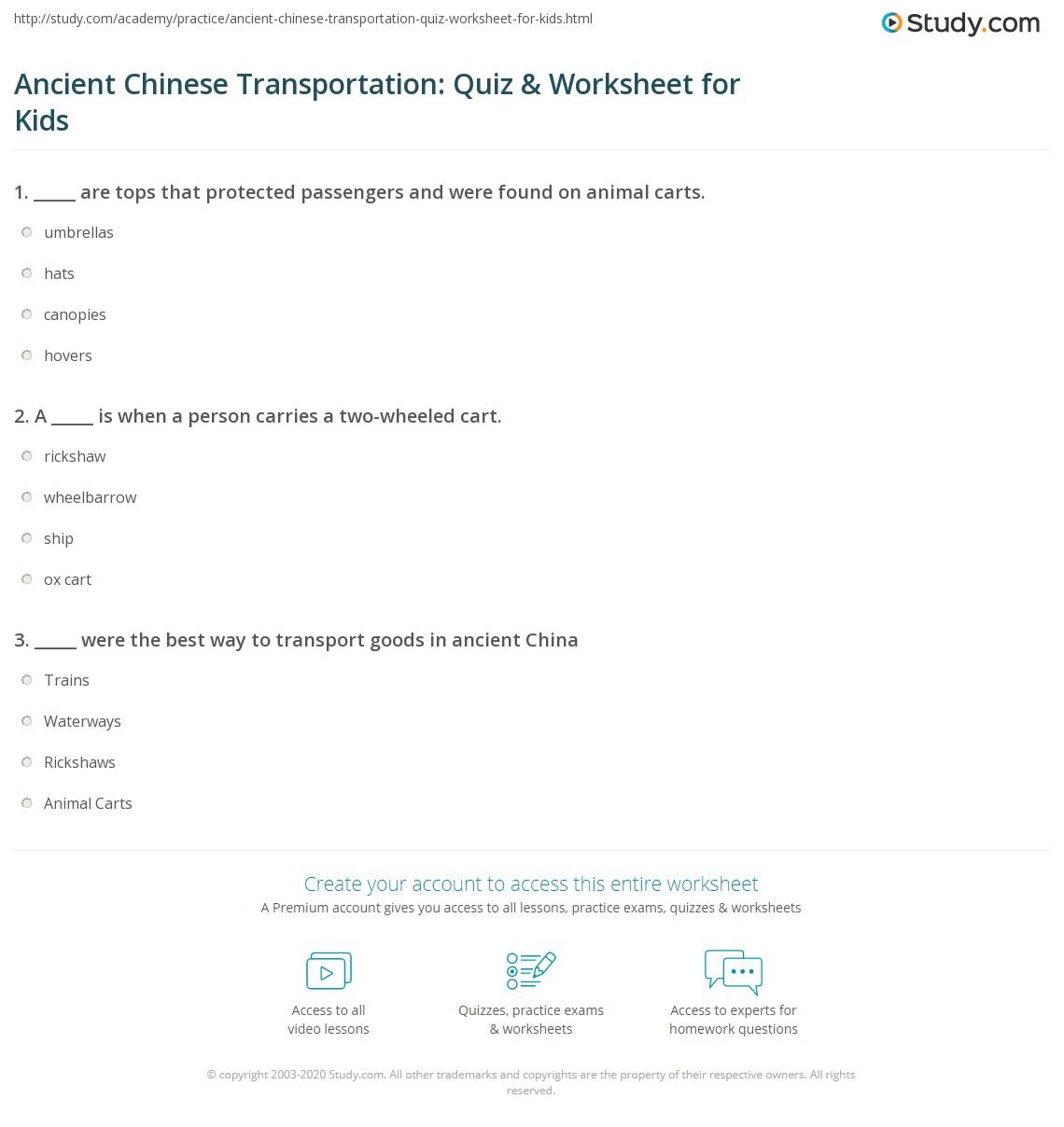 Ancient Chinese Transportation Quiz Amp Worksheet For Kids