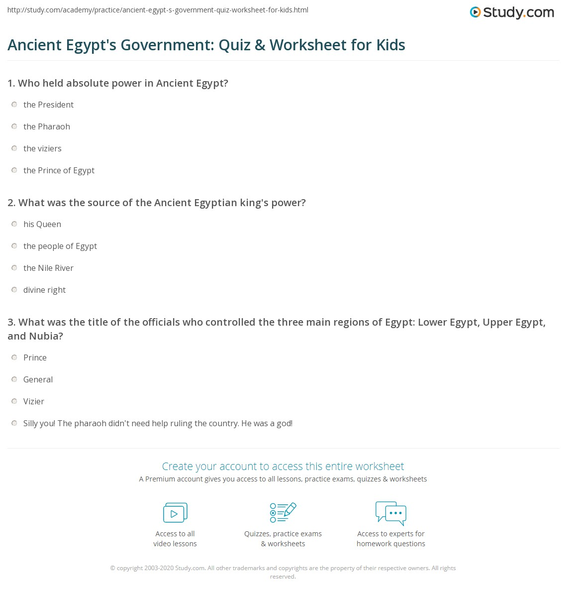 Ancient Egypt S Government Quiz Amp Worksheet For Kids