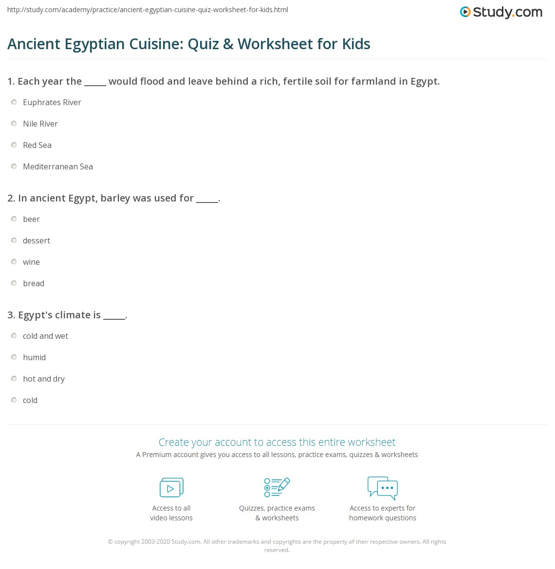 Ancient Egyptian Cuisine Quiz Amp Worksheet For Kids