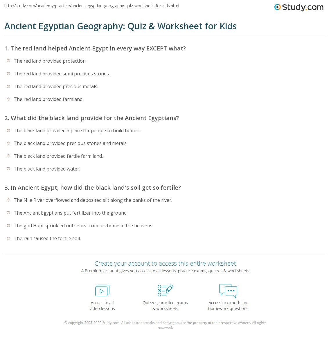Ancient Egyptian Geography Quiz Amp Worksheet For Kids