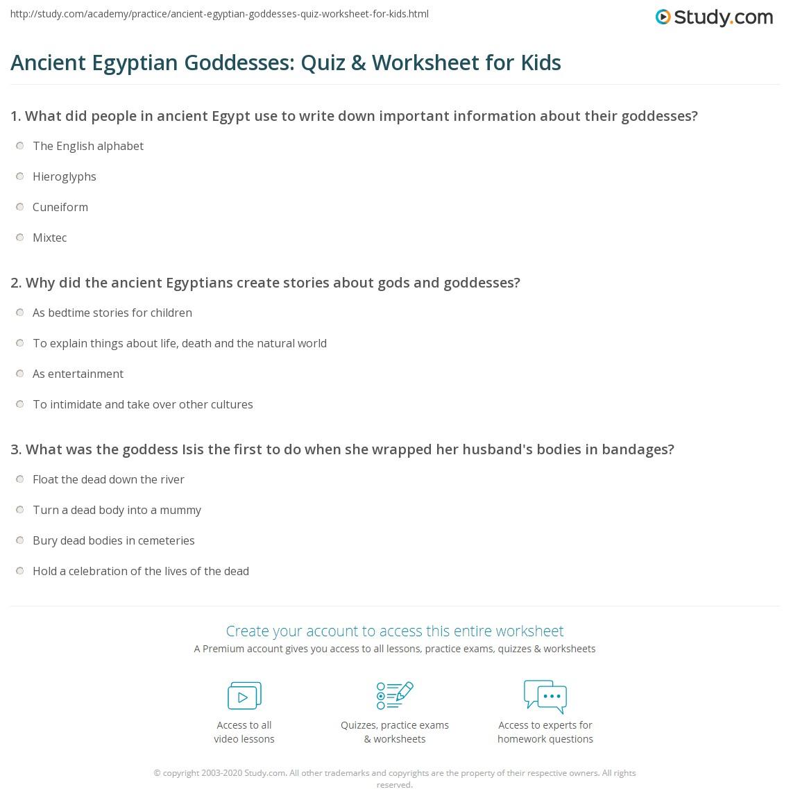 Ancient Egyptian Goddesses Quiz Amp Worksheet For Kids