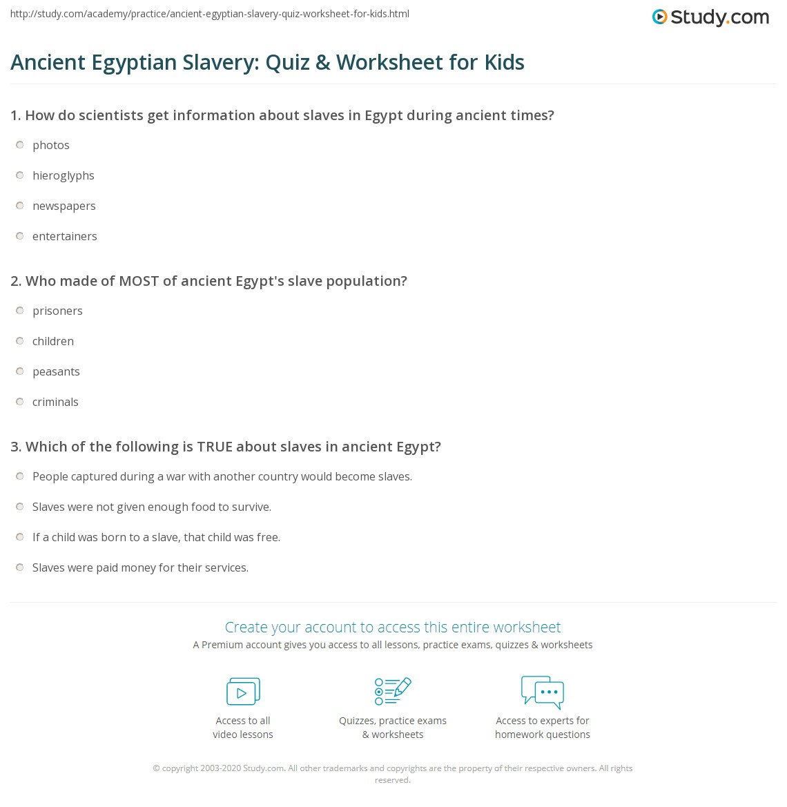 Ancient Egyptian Slavery Quiz Amp Worksheet For Kids