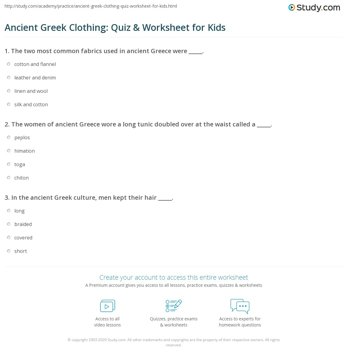 Ancient Greek Clothing Quiz Amp Worksheet For Kids