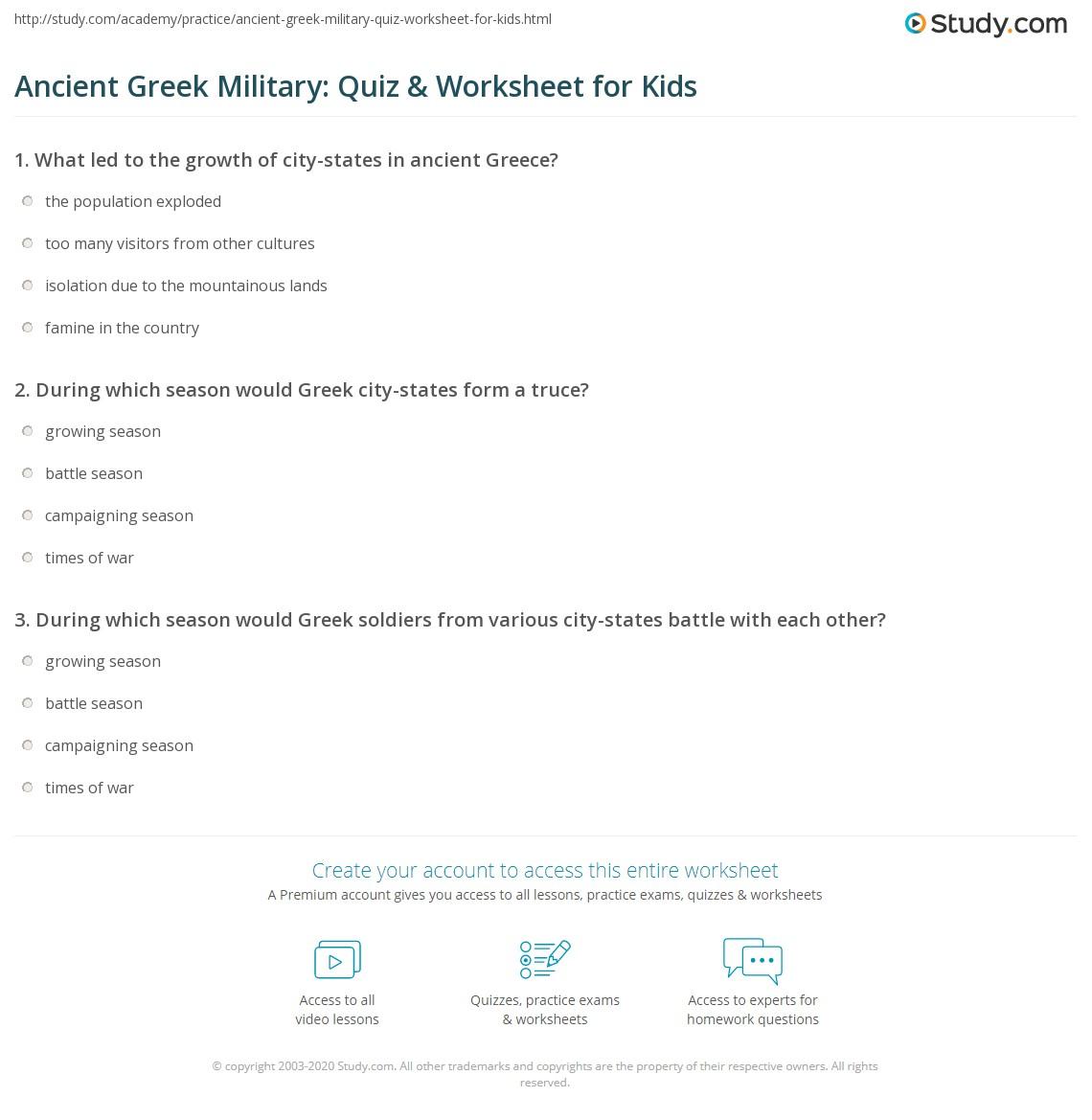 Ancient Greek Military Quiz Amp Worksheet For Kids