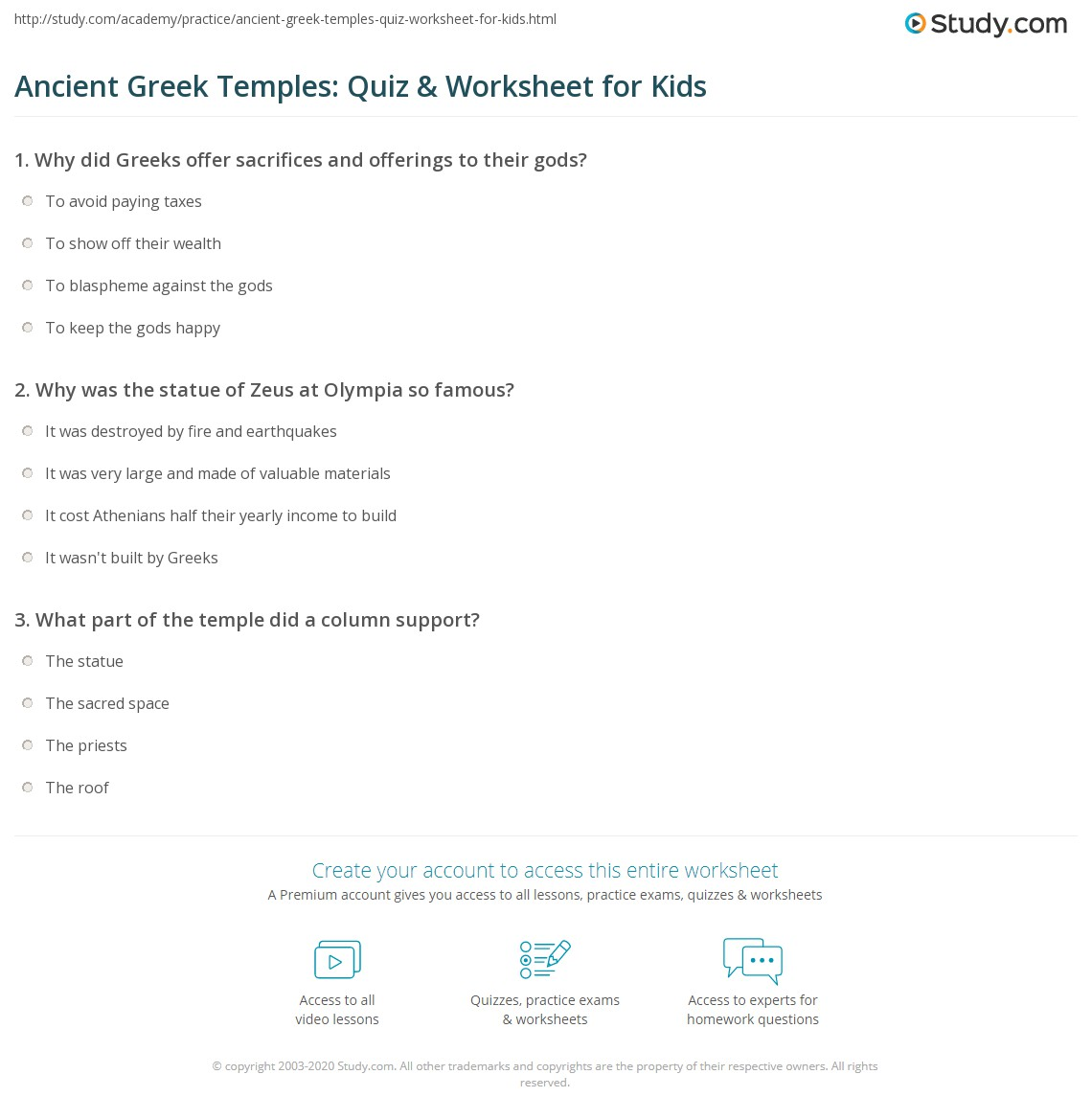 Ancient Greek Temples Quiz Amp Worksheet For Kids