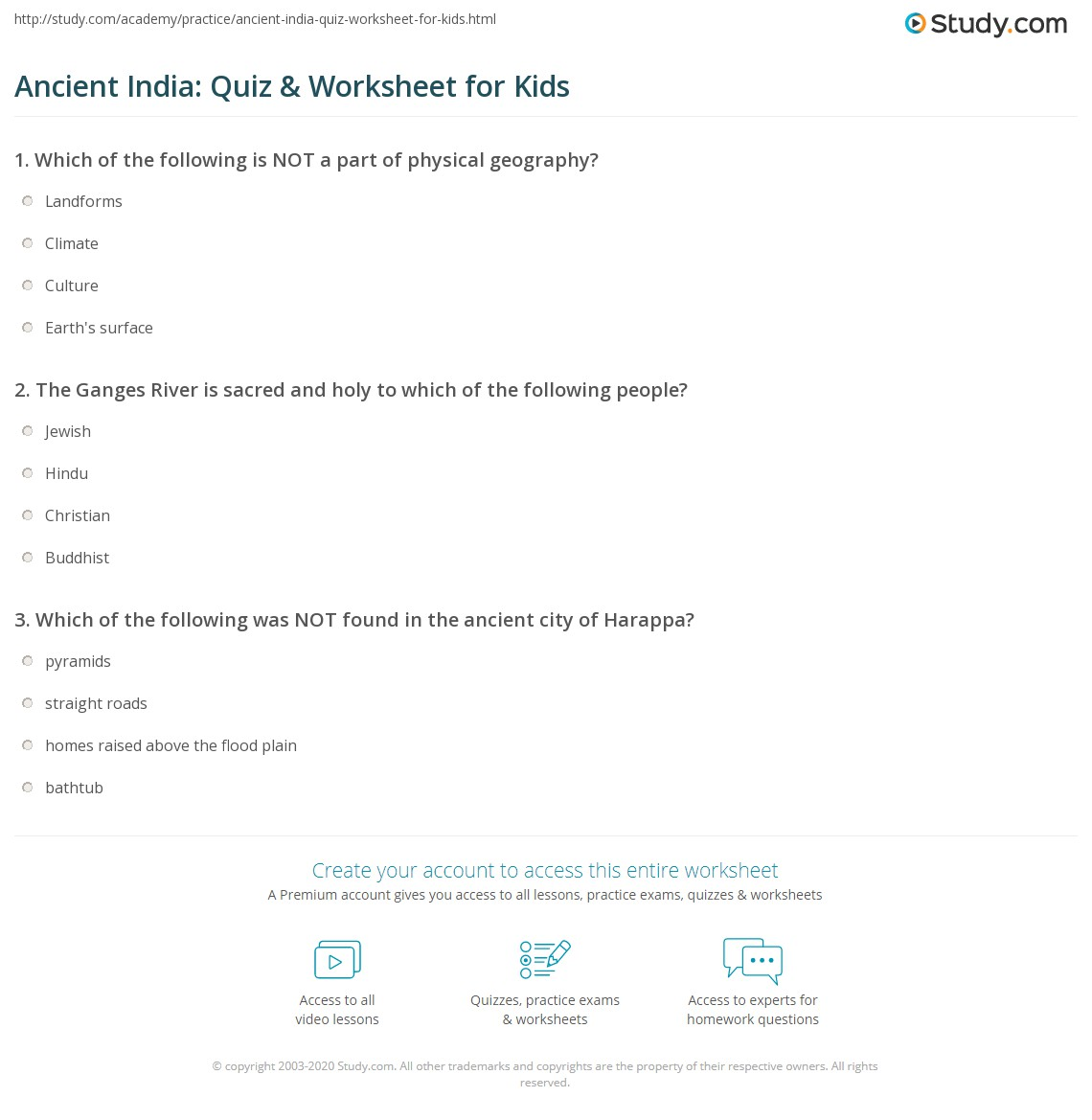 Ancient India Quiz Amp Worksheet For Kids
