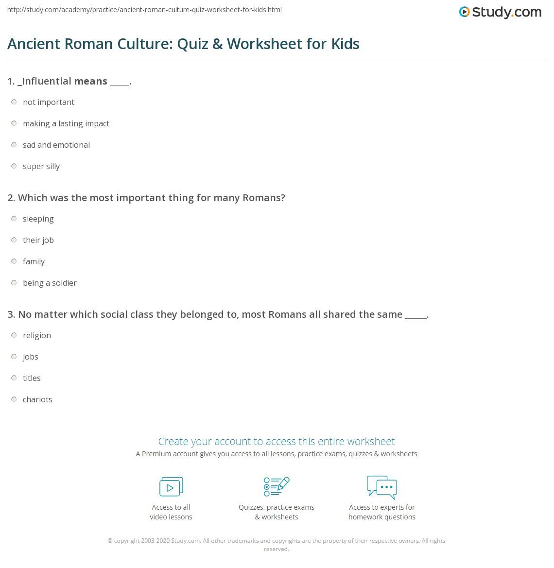 Ancient Roman Religion Worksheet