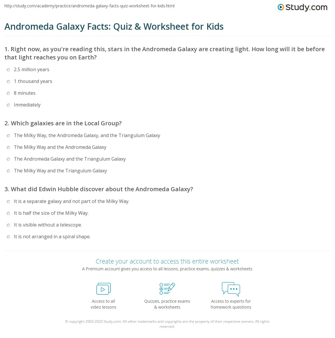 Andromeda Galaxy Facts Quiz Amp Worksheet For Kids