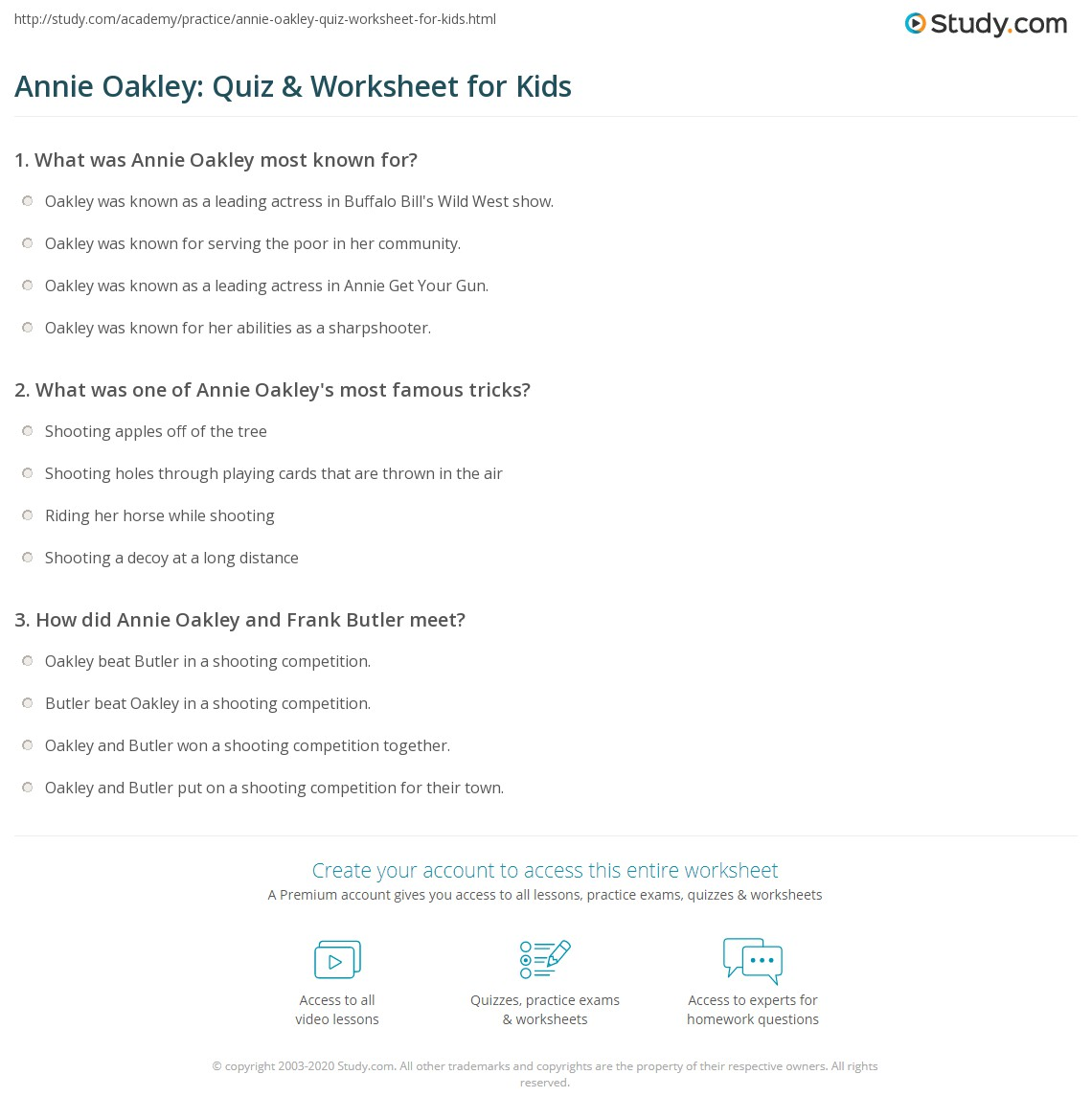Annie Oakley Quiz Amp Worksheet For Kids
