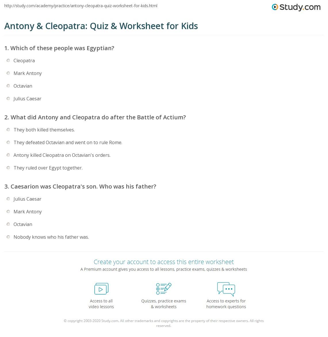Antony Amp Cleopatra Quiz Amp Worksheet For Kids