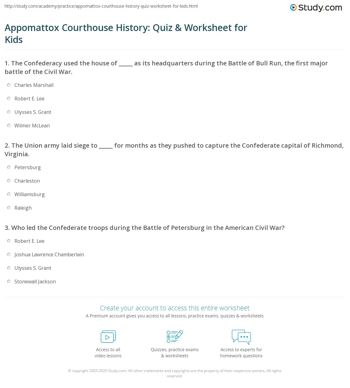 Appomattox Courthouse History Quiz Amp Worksheet For Kids