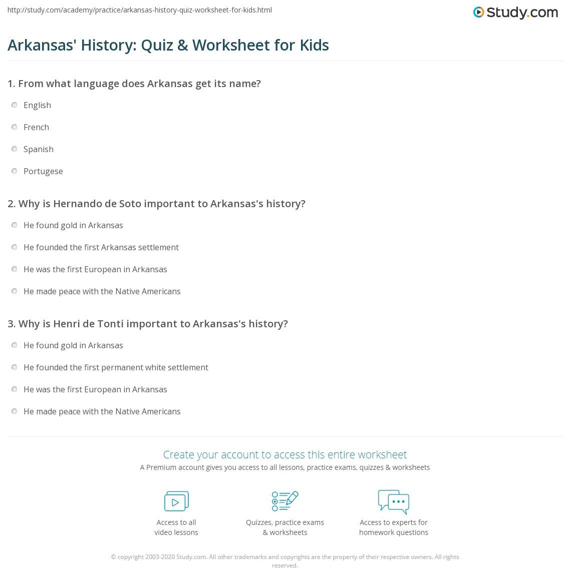 Arkansas History Quiz Amp Worksheet For Kids