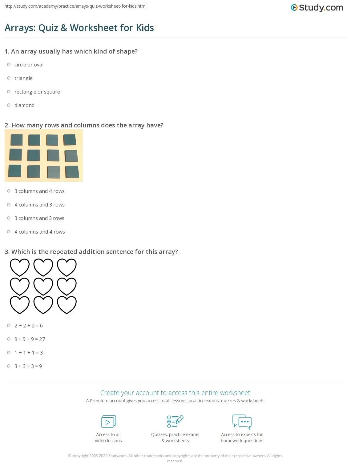 Arrays Quiz Amp Worksheet For Kids