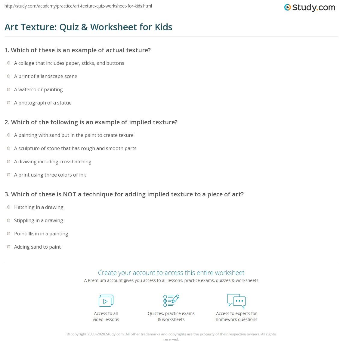 Art Texture Quiz Amp Worksheet For Kids