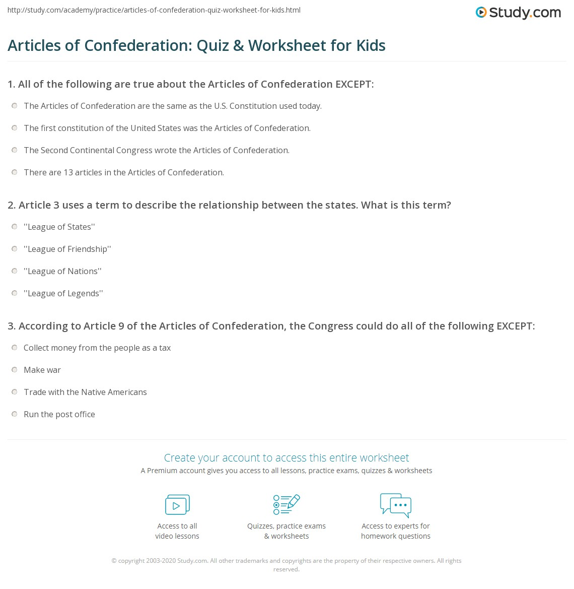 Articles Of Confederation Quiz Amp Worksheet For Kids