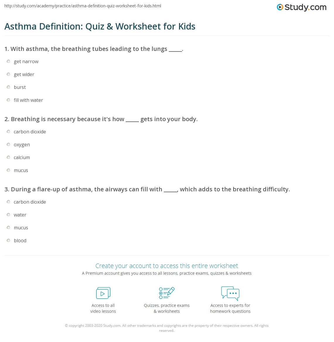 Asthma Definition Quiz Amp Worksheet For Kids