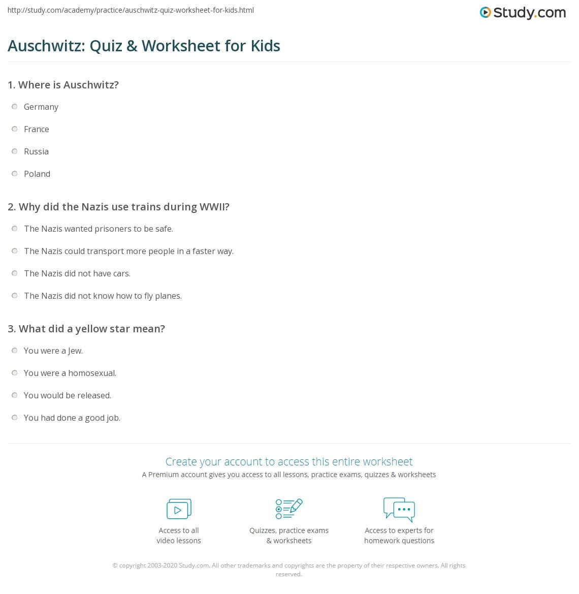 Auschwitz Quiz Amp Worksheet For Kids